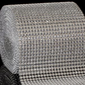 Diamante Designs 24 Row Silver Mesh