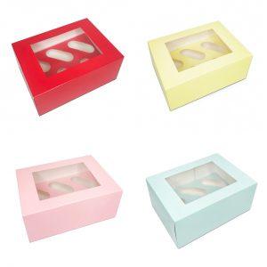"""Coloured Cupcake Boxes 4"""" Deep"""