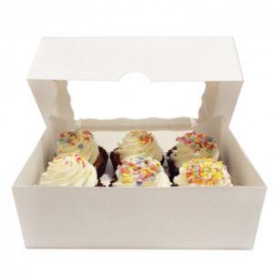 Luxury Satin White 6 Cavity Cupcake Boxes
