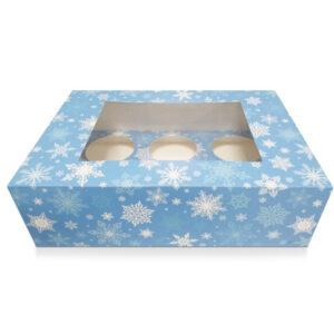 6 Hole Cupcake Box – Blue Snowflake