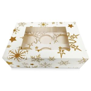 6 Hole Cupcake Box – Gold Stars